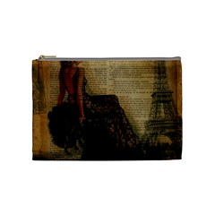 Elegant Evening Gown Lady Vintage Newspaper Print Pin Up Girl Paris Eiffel Tower Cosmetic Bag (medium) by chicelegantboutique