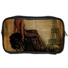 Elegant Evening Gown Lady Vintage Newspaper Print Pin Up Girl Paris Eiffel Tower Travel Toiletry Bag (two Sides) by chicelegantboutique