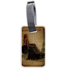 Elegant Evening Gown Lady Vintage Newspaper Print Pin Up Girl Paris Eiffel Tower Luggage Tag (two Sides) by chicelegantboutique