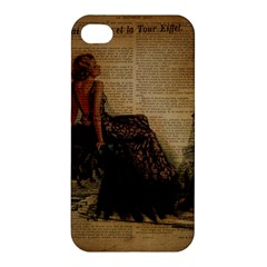 Elegant Evening Gown Lady Vintage Newspaper Print Pin Up Girl Paris Eiffel Tower Apple Iphone 4/4s Hardshell Case by chicelegantboutique