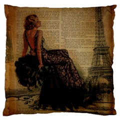 Elegant Evening Gown Lady Vintage Newspaper Print Pin Up Girl Paris Eiffel Tower Large Cushion Case (two Sided)  by chicelegantboutique
