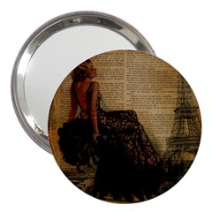 Elegant Evening Gown Lady Vintage Newspaper Print Pin Up Girl Paris Eiffel Tower 3  Handbag Mirror by chicelegantboutique