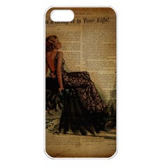 Elegant Evening Gown Lady Vintage Newspaper Print Pin Up Girl Paris Eiffel Tower Apple Iphone 5 Seamless Case (white)