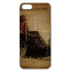 Elegant Evening Gown Lady Vintage Newspaper Print Pin Up Girl Paris Eiffel Tower Apple Seamless Iphone 5 Case (clear) by chicelegantboutique