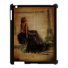 Elegant Evening Gown Lady Vintage Newspaper Print Pin Up Girl Paris Eiffel Tower Apple Ipad 3/4 Case (black) by chicelegantboutique