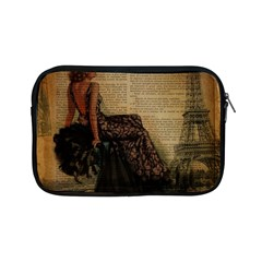 Elegant Evening Gown Lady Vintage Newspaper Print Pin Up Girl Paris Eiffel Tower Apple Ipad Mini Zipper Case by chicelegantboutique