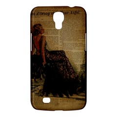 Elegant Evening Gown Lady Vintage Newspaper Print Pin Up Girl Paris Eiffel Tower Samsung Galaxy Mega 6 3  I9200 by chicelegantboutique