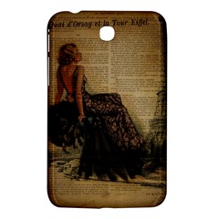 Elegant Evening Gown Lady Vintage Newspaper Print Pin Up Girl Paris Eiffel Tower Samsung Galaxy Tab 3 (7 ) P3200 Hardshell Case  by chicelegantboutique