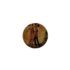 Vintage Paris Eiffel Tower Elegant Dancing Waltz Dance Couple  1  Mini Button