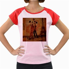Vintage Paris Eiffel Tower Elegant Dancing Waltz Dance Couple  Women s Cap Sleeve T-shirt (colored) by chicelegantboutique