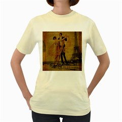 Vintage Paris Eiffel Tower Elegant Dancing Waltz Dance Couple   Womens  T Shirt (yellow)