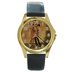 Vintage Paris Eiffel Tower Elegant Dancing Waltz Dance Couple  Round Metal Watch (gold Rim)