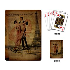 Vintage Paris Eiffel Tower Elegant Dancing Waltz Dance Couple  Playing Cards Single Design