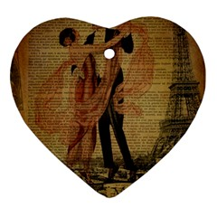 Vintage Paris Eiffel Tower Elegant Dancing Waltz Dance Couple  Heart Ornament (two Sides)