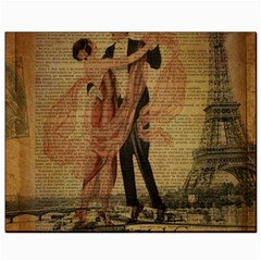 Vintage Paris Eiffel Tower Elegant Dancing Waltz Dance Couple  Canvas 8  X 10  (unframed) by chicelegantboutique