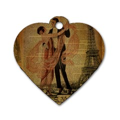 Vintage Paris Eiffel Tower Elegant Dancing Waltz Dance Couple  Dog Tag Heart (one Sided)