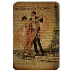 Vintage Paris Eiffel Tower Elegant Dancing Waltz Dance Couple  Large Door Mat