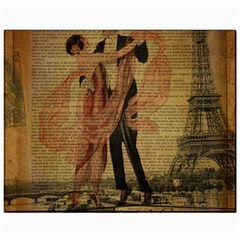 Vintage Paris Eiffel Tower Elegant Dancing Waltz Dance Couple  Canvas 11  X 14  (unframed)