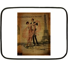 Vintage Paris Eiffel Tower Elegant Dancing Waltz Dance Couple  Mini Fleece Blanket (two Sided)