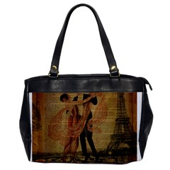 Vintage Paris Eiffel Tower Elegant Dancing Waltz Dance Couple  Oversize Office Handbag (one Side)