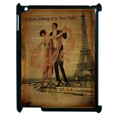 Vintage Paris Eiffel Tower Elegant Dancing Waltz Dance Couple  Apple Ipad 2 Case (black) by chicelegantboutique