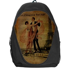 Vintage Paris Eiffel Tower Elegant Dancing Waltz Dance Couple  Backpack Bag by chicelegantboutique