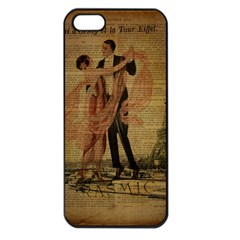 Vintage Paris Eiffel Tower Elegant Dancing Waltz Dance Couple  Apple Iphone 5 Seamless Case (black)