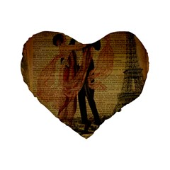Vintage Paris Eiffel Tower Elegant Dancing Waltz Dance Couple  16  Premium Heart Shape Cushion  by chicelegantboutique