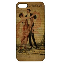 Vintage Paris Eiffel Tower Elegant Dancing Waltz Dance Couple  Apple Iphone 5 Hardshell Case With Stand