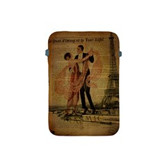 Vintage Paris Eiffel Tower Elegant Dancing Waltz Dance Couple  Apple Ipad Mini Protective Soft Case by chicelegantboutique