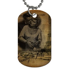 Romantic Kissing Couple Love Vintage Paris Eiffel Tower Dog Tag (two Sided)  by chicelegantboutique