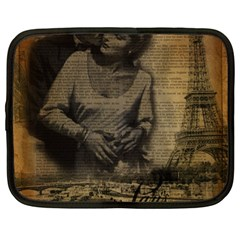 Romantic Kissing Couple Love Vintage Paris Eiffel Tower Netbook Case (xl) by chicelegantboutique