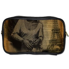 Romantic Kissing Couple Love Vintage Paris Eiffel Tower Travel Toiletry Bag (one Side)