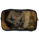 Romantic Kissing Couple Love Vintage Paris Eiffel Tower Travel Toiletry Bag (One Side) Front