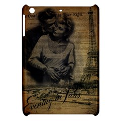 Romantic Kissing Couple Love Vintage Paris Eiffel Tower Apple Ipad Mini Hardshell Case by chicelegantboutique