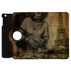 Romantic Kissing Couple Love Vintage Paris Eiffel Tower Apple Ipad Mini Flip 360 Case by chicelegantboutique