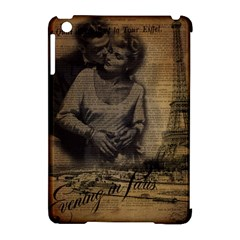 Romantic Kissing Couple Love Vintage Paris Eiffel Tower Apple Ipad Mini Hardshell Case (compatible With Smart Cover) by chicelegantboutique
