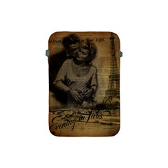 Romantic Kissing Couple Love Vintage Paris Eiffel Tower Apple Ipad Mini Protective Soft Case by chicelegantboutique