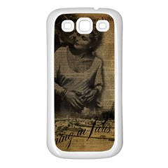 Romantic Kissing Couple Love Vintage Paris Eiffel Tower Samsung Galaxy S3 Back Case (white)