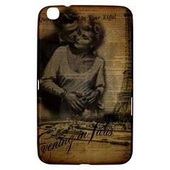 Romantic Kissing Couple Love Vintage Paris Eiffel Tower Samsung Galaxy Tab 3 (8 ) T3100 Hardshell Case  by chicelegantboutique