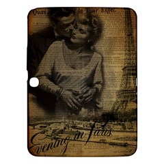 Romantic Kissing Couple Love Vintage Paris Eiffel Tower Samsung Galaxy Tab 3 (10 1 ) P5200 Hardshell Case  by chicelegantboutique