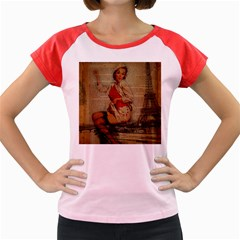 Vintage Newspaper Print Pin Up Girl Paris Eiffel Tower Funny Vintage Retro Nurse  Women s Cap Sleeve T Shirt (colored)