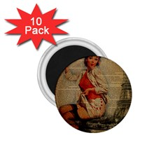 Vintage Newspaper Print Pin Up Girl Paris Eiffel Tower Funny Vintage Retro Nurse  1 75  Button Magnet (10 Pack) by chicelegantboutique