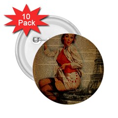 Vintage Newspaper Print Pin Up Girl Paris Eiffel Tower Funny Vintage Retro Nurse  2 25  Button (10 Pack) by chicelegantboutique
