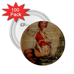 Vintage Newspaper Print Pin Up Girl Paris Eiffel Tower Funny Vintage Retro Nurse  2 25  Button (100 Pack) by chicelegantboutique