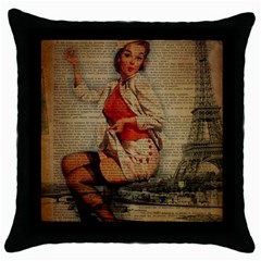 Vintage Newspaper Print Pin Up Girl Paris Eiffel Tower Funny Vintage Retro Nurse  Black Throw Pillow Case by chicelegantboutique