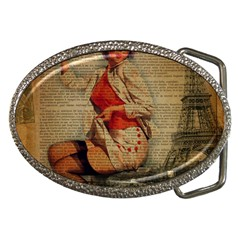 Vintage Newspaper Print Pin Up Girl Paris Eiffel Tower Funny Vintage Retro Nurse  Belt Buckle (oval) by chicelegantboutique
