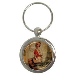 Vintage Newspaper Print Pin Up Girl Paris Eiffel Tower Funny Vintage Retro Nurse  Key Chain (round) by chicelegantboutique