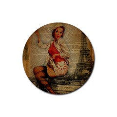 Vintage Newspaper Print Pin Up Girl Paris Eiffel Tower Funny Vintage Retro Nurse  Drink Coasters 4 Pack (round)