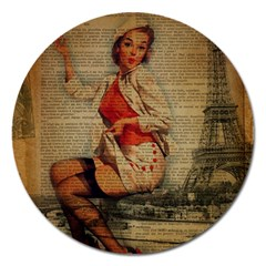 Vintage Newspaper Print Pin Up Girl Paris Eiffel Tower Funny Vintage Retro Nurse  Magnet 5  (round)